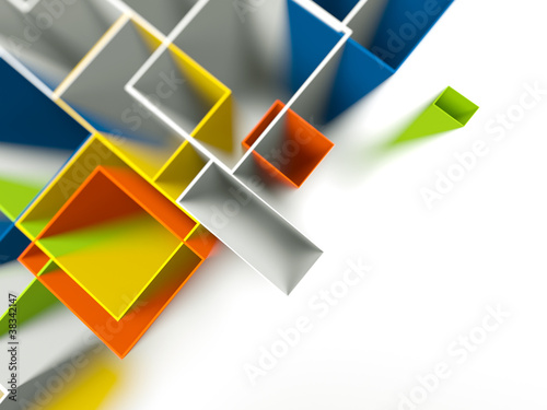 Colored Background of 3d geometric shapes.