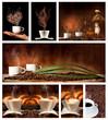 Serie di caffè con sfondo scuro
