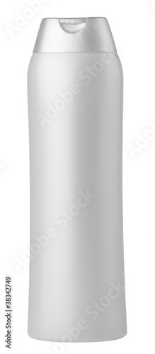 Silver shampoo bottle isolated on white