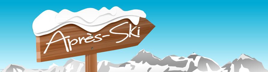 Schild Apres Ski mit Bergen