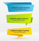 Fototapety Vector set of origami paper banners.