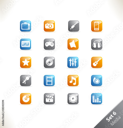 Vector beautiful icon set. Part 1 - Media