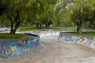 Skateboarding with graffiti