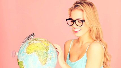 Studious Woman With Globe