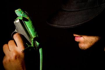 iguana and man