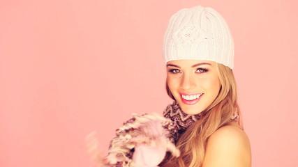 Gorgeous Blonde In Winter Woollies.
