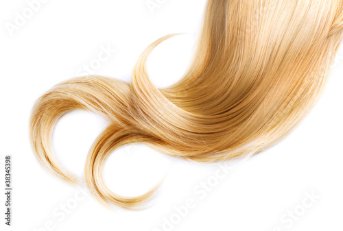 Healthy Blond Hair Isolated On White - 38345398