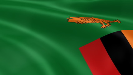 Zambian flag in the wind. Part of a series.