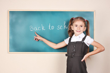beautiful little girl standing near blackboard in the classroom