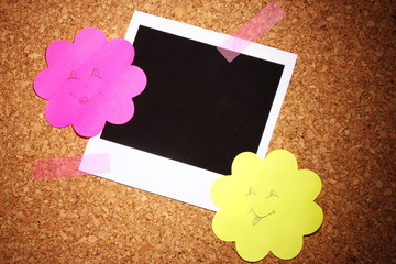 Photo paper with colored paper in the shape of a flower