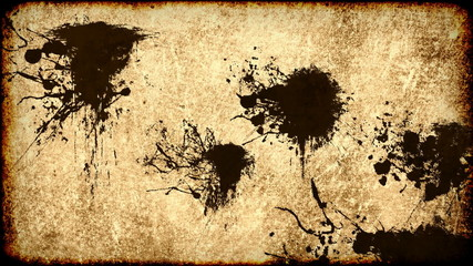 Ink stains on old grungy worn paper background