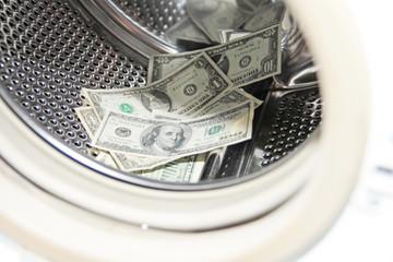 american dollars in the drum washing machine