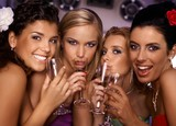 Hot girls having party poster