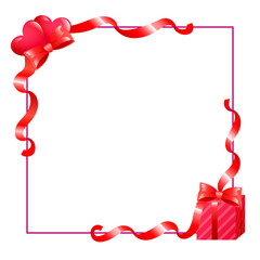 valentines frame with hearts and gift
