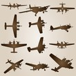 Vector conceptual set of vintage planes - 38348567