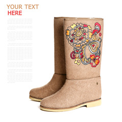 winter shoes, felt boots, white background (with sample text)