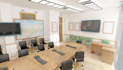 Office interior with big table