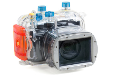 underwater camera isolated on white background