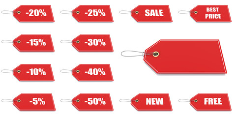 Red price and discount tags