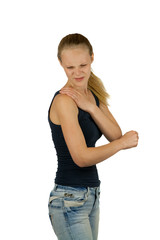 Young woman with shoulder pain on white background