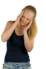 Young woman with headache on white background