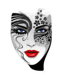 Viso Ragazza Maschera Tatuaggio-Tattoo Girl's Portrait-Vector