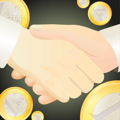 Handshake against Euro-related  background