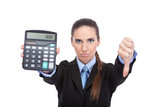 debt - accountant holding a calculator