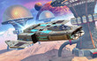 space fighter and desert city