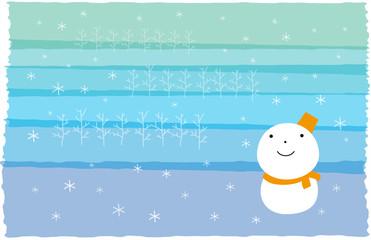 雪だるま 雪景色 ヨコ