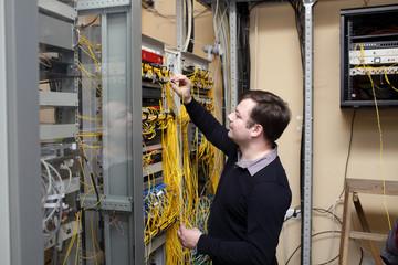 Network technician at server room