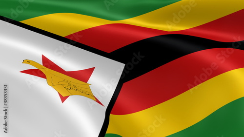 Zimbabwean flag in the wind