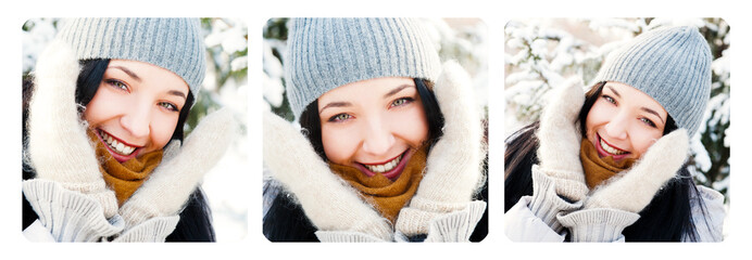 Three Portraits of young beautiful girl outdoors in winter havin
