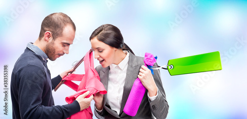 Portrait of adult beautiful couple shopping. Man gifting to his