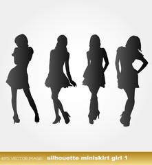 eps Vector image:silhouette miniskirt girl 1