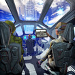spaceship interior and alien planet
