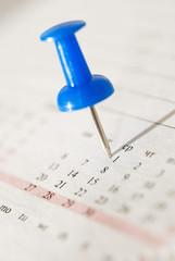 office nail on the calendar