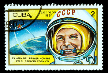 CUBA - CIRCA 1981. A stamp printed in the Cuba, shows cosmonaut