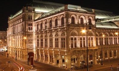 Nightshot of the rear facade of Vienna opera house