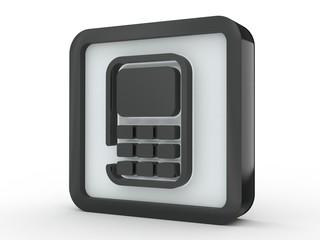 Button Mobiltelefon schwarz