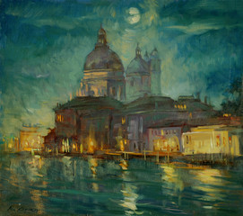 night venice, painting by an oil paint on a cardboard,  illustra