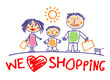 We love shopping hand drawn illustration with happy family
