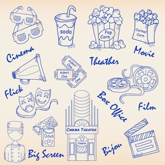 Hand Drawn Movie Icons Set     vector eps10