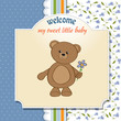 new baby announcement card with teddy bear and flower