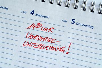 Vorsorgeuntersuchung, Termin, Kalender, Krankheit, Gesundheit
