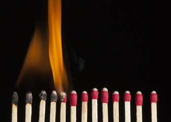 Sequence Of A Burning Match
