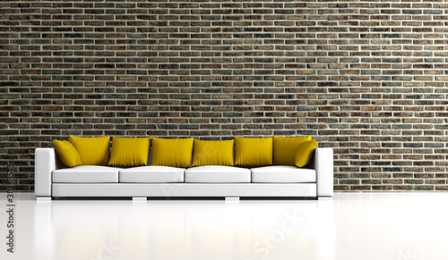 Wohndesign - Sofa vor Klinkerwand