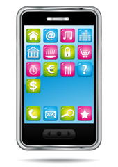 Smartphone with applications icons