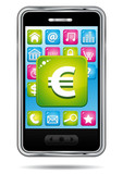 Smartphone with euros banking application icon.