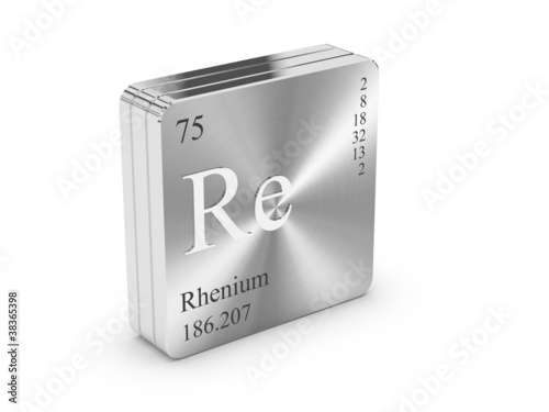 Rhenium - element of the periodic table on metal steel block